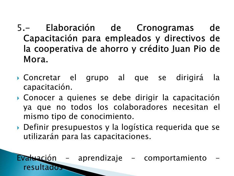 5.- Elaboración de Cronogramas de Capacitación para empleados y directivos de la cooperativa de ahorro y crédito Juan Pio de Mora. Concretar el grupo