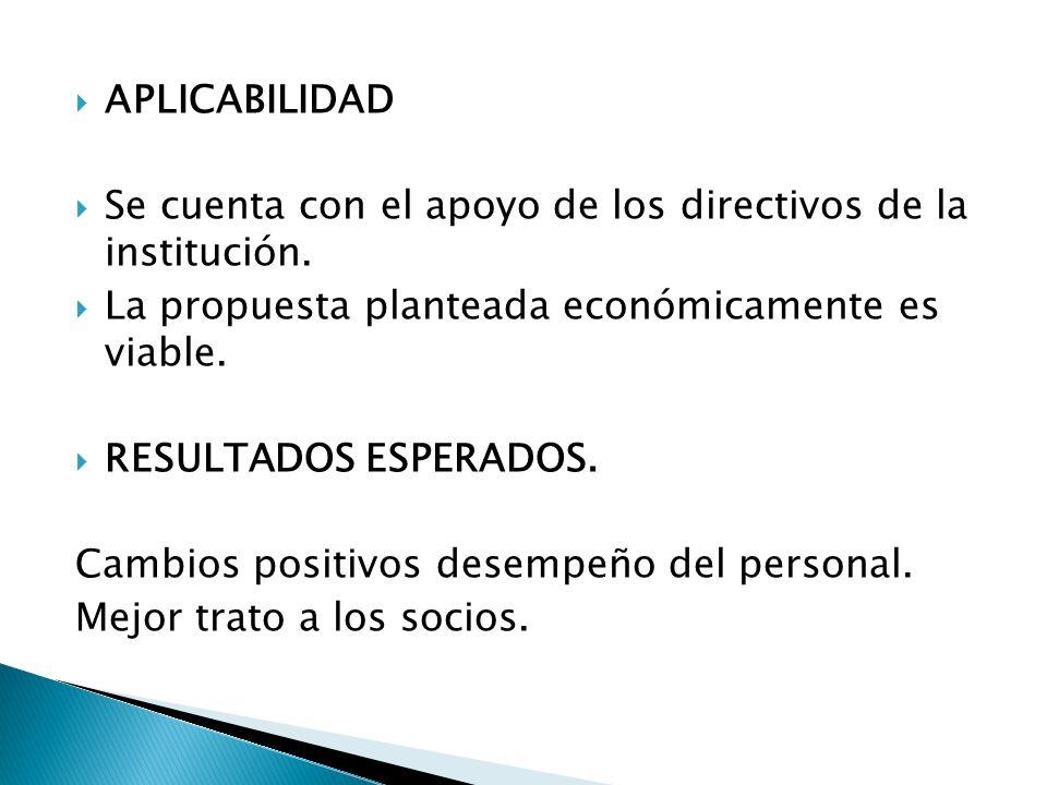 APLICABILIDAD Se cuenta con el apoyo de los directivos de la institución. La propuesta planteada económicamente es viable. RESULTADOS ESPERADOS. Cambi