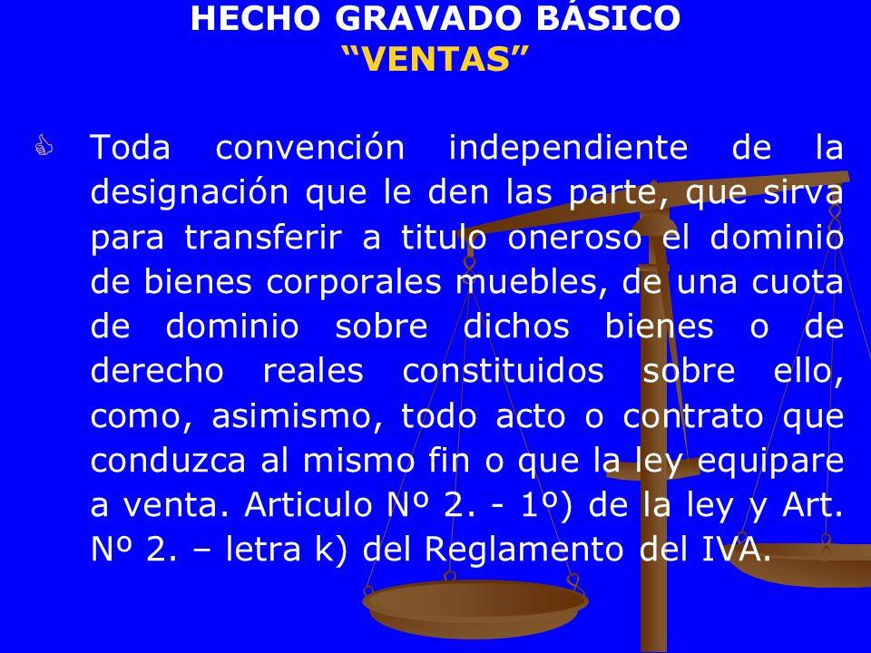 HECHO GRAVADO BÁSICO VENTAS Toda convención independiente de la designación que le den las parte, que sirva para transferir a titulo oneroso el domini