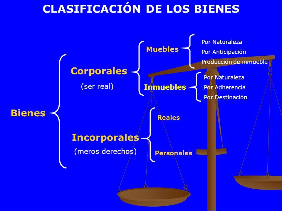CLASIFICACIÓN DE LOS BIENES Bienes Corporales (ser real) Muebles Inmuebles Por Naturaleza Por Anticipación Producción de inmueble Incorporales (meros