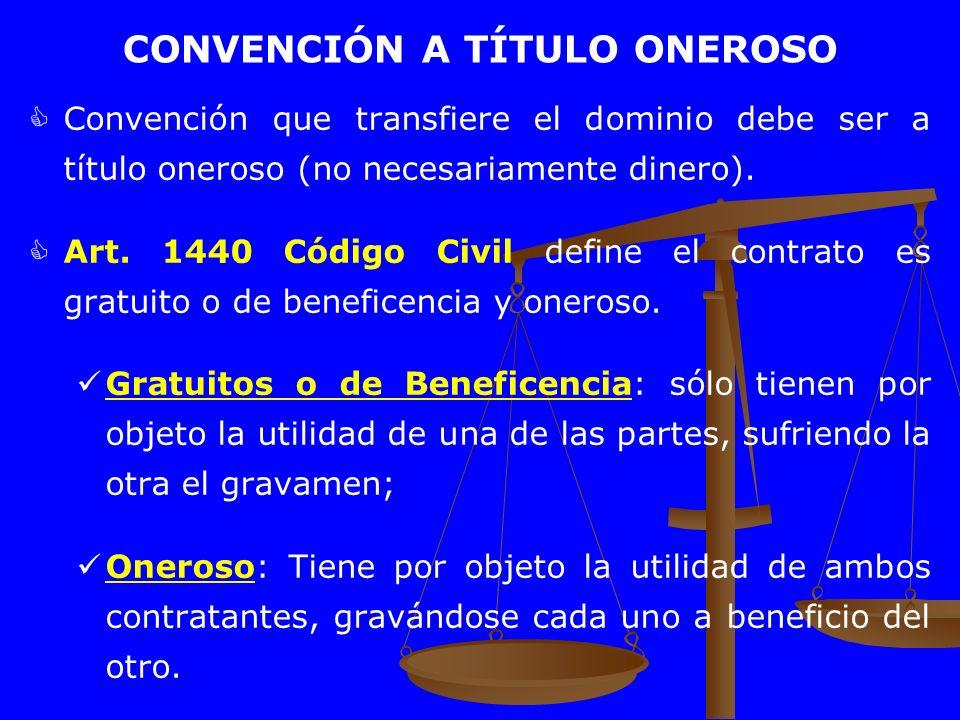 CONVENCIÓN A TÍTULO ONEROSO Convención que transfiere el dominio debe ser a título oneroso (no necesariamente dinero). Art. 1440 Código Civil define e
