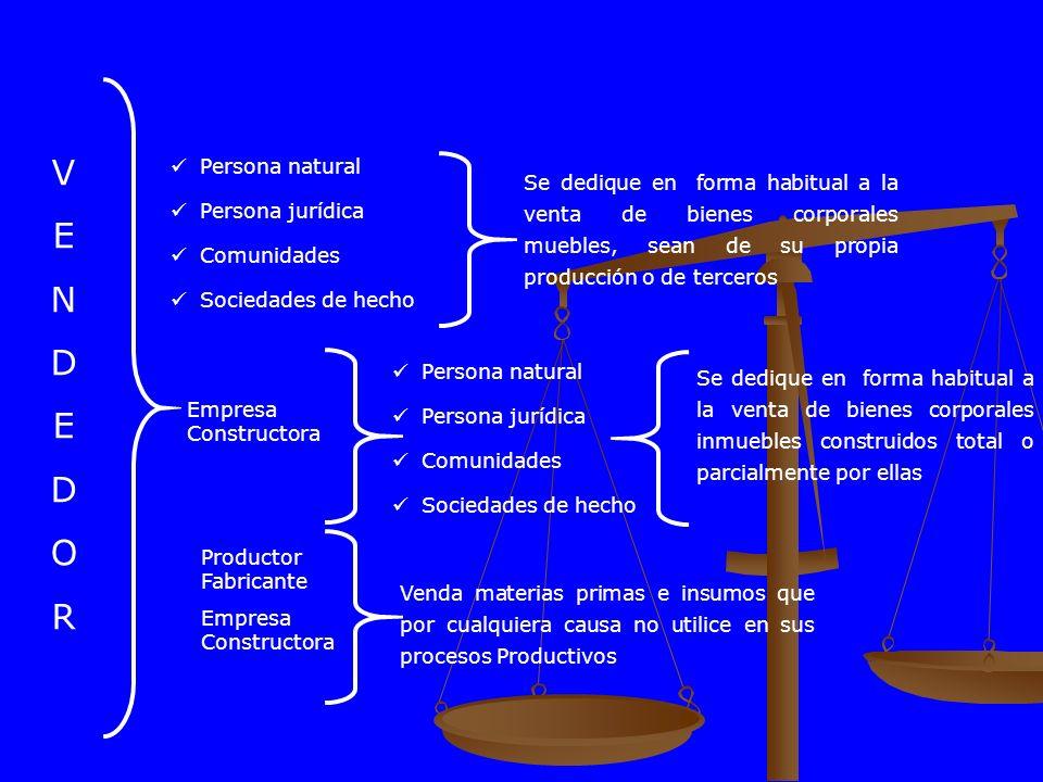 VENDEDORVENDEDOR Persona natural Persona jurídica Comunidades Sociedades de hecho Se dedique en forma habitual a la venta de bienes corporales muebles