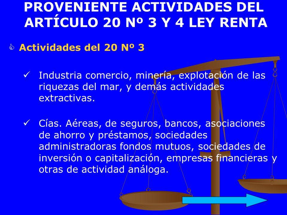 PROVENIENTE ACTIVIDADES DEL ARTÍCULO 20 Nº 3 Y 4 LEY RENTA Actividades del 20 Nº 3 Industria comercio, minería, explotación de las riquezas del mar, y