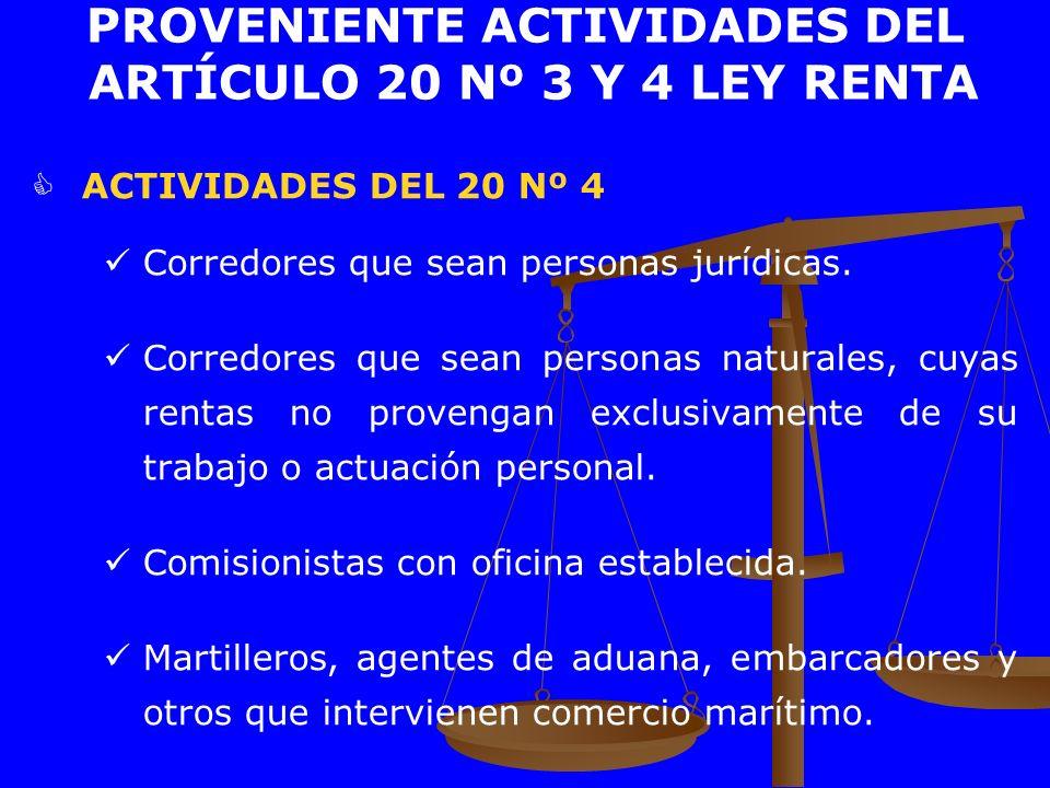ACTIVIDADES DEL 20 Nº 4 Corredores que sean personas jurídicas. Corredores que sean personas naturales, cuyas rentas no provengan exclusivamente de su