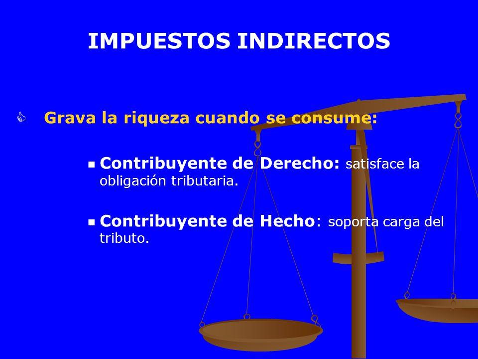 IMPUESTOS INDIRECTOS Grava la riqueza cuando se consume: Contribuyente de Derecho: satisface la obligación tributaria. Contribuyente de Hecho: soporta