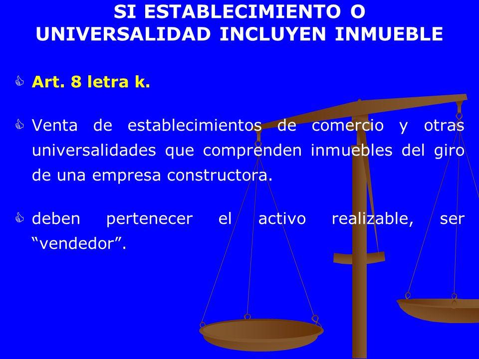 SI ESTABLECIMIENTO O UNIVERSALIDAD INCLUYEN INMUEBLE Art. 8 letra k. Venta de establecimientos de comercio y otras universalidades que comprenden inmu