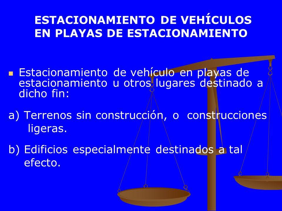 ESTACIONAMIENTO DE VEHÍCULOS EN PLAYAS DE ESTACIONAMIENTO Estacionamiento de vehículo en playas de estacionamiento u otros lugares destinado a dicho f