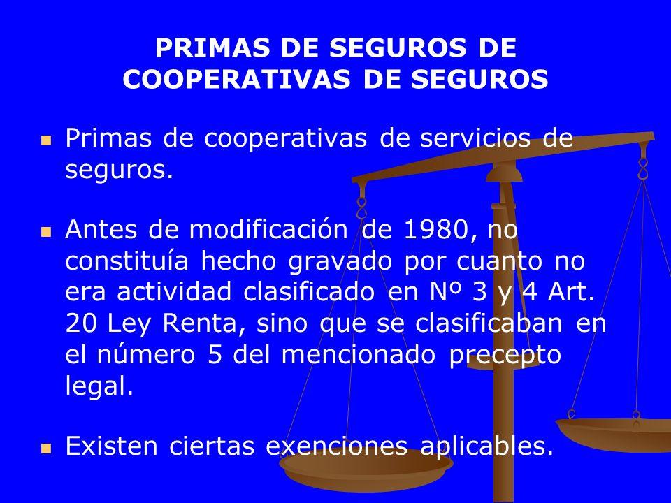 PRIMAS DE SEGUROS DE COOPERATIVAS DE SEGUROS Primas de cooperativas de servicios de seguros. Antes de modificación de 1980, no constituía hecho gravad