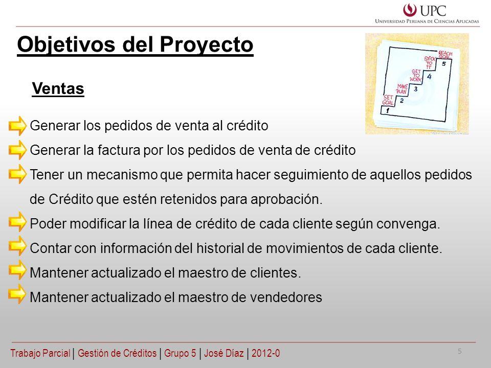 Objetivos del Proyecto Generar los pedidos de venta al crédito Generar la factura por los pedidos de venta de crédito Tener un mecanismo que permita h