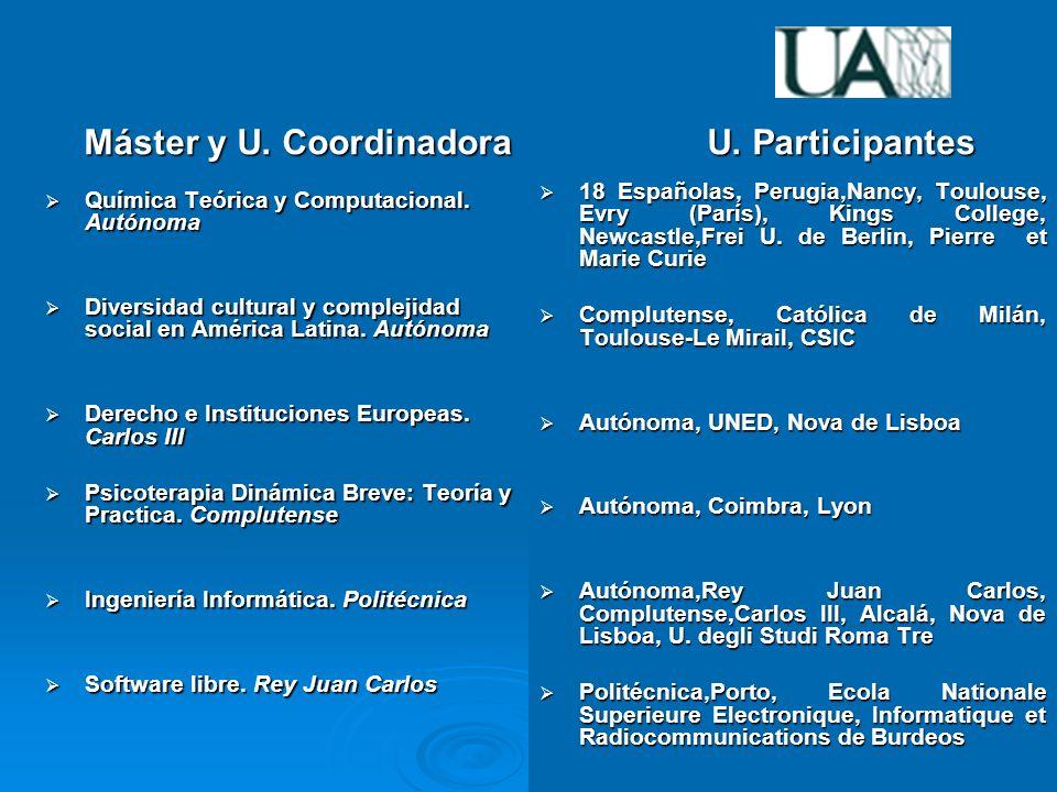 Experiencias de las Universidades de la Comunidad de Madrid Máster y U.
