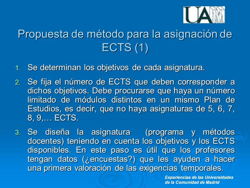 Experiencias de las Universidades de la Comunidad de Madrid Propuesta de método para la asignación de ECTS (1) 1.