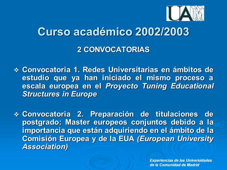 Experiencias de las Universidades de la Comunidad de Madrid Curso académico 2002/2003 2 CONVOCATORIAS Convocatoria 1.