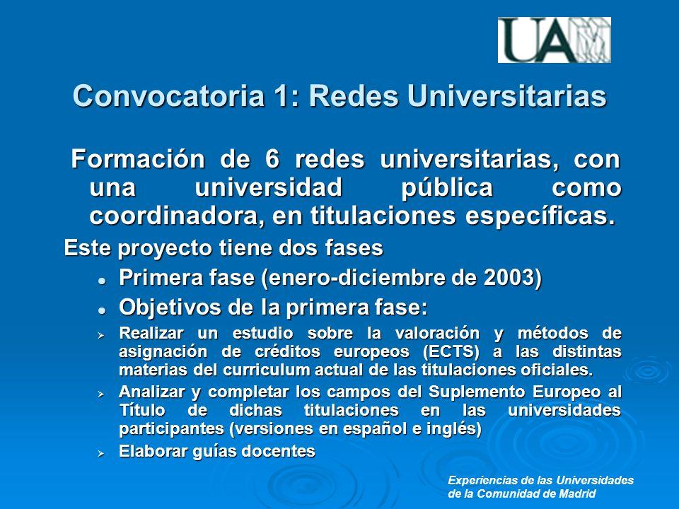 Experiencias de las Universidades de la Comunidad de Madrid Convocatoria 1: Redes Universitarias Formación de 6 redes universitarias, con una universidad pública como coordinadora, en titulaciones específicas.