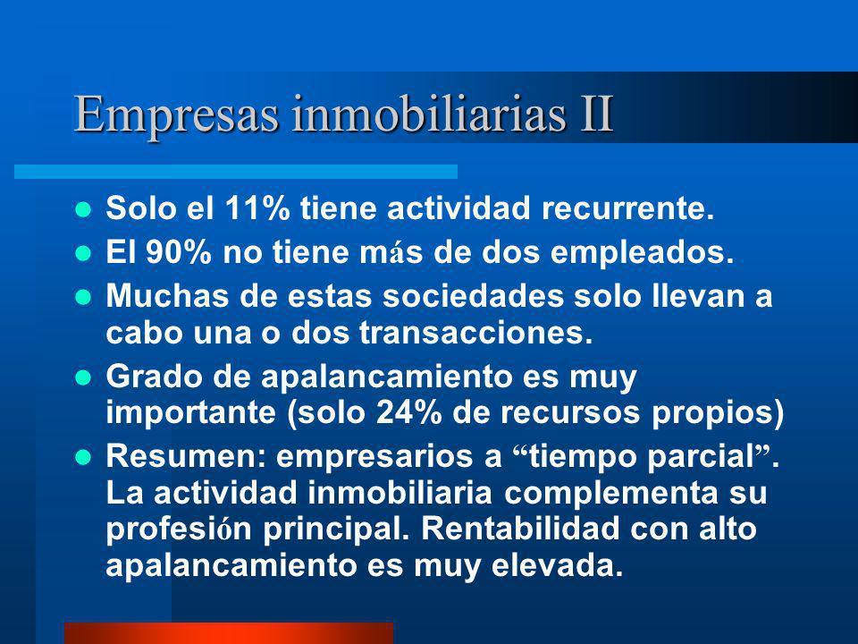 Empresas inmobiliarias II Solo el 11% tiene actividad recurrente. El 90% no tiene m á s de dos empleados. Muchas de estas sociedades solo llevan a cab
