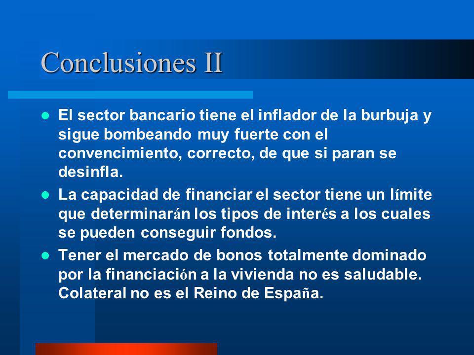Conclusiones II El sector bancario tiene el inflador de la burbuja y sigue bombeando muy fuerte con el convencimiento, correcto, de que si paran se de
