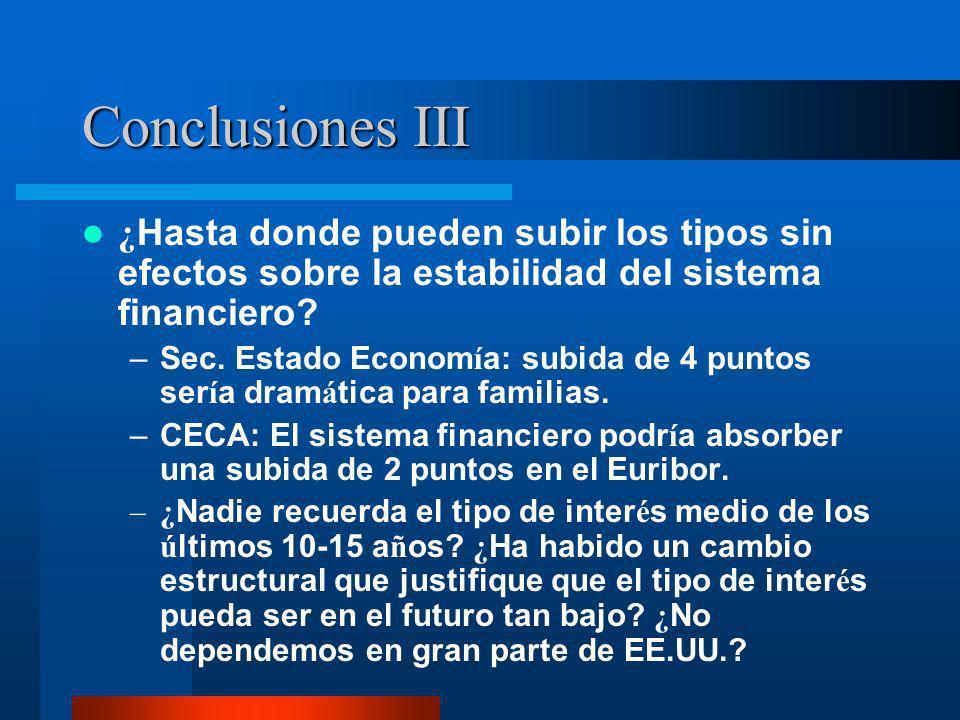 Conclusiones III ¿ Hasta donde pueden subir los tipos sin efectos sobre la estabilidad del sistema financiero? –Sec. Estado Econom í a: subida de 4 pu