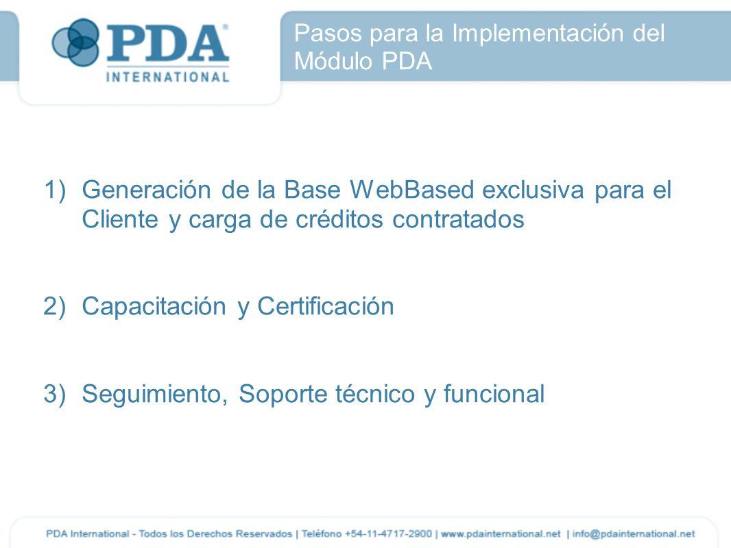 Pasos para la Implementación del Módulo PDA 1)Generación de la Base WebBased exclusiva para el Cliente y carga de créditos contratados 2)Capacitación