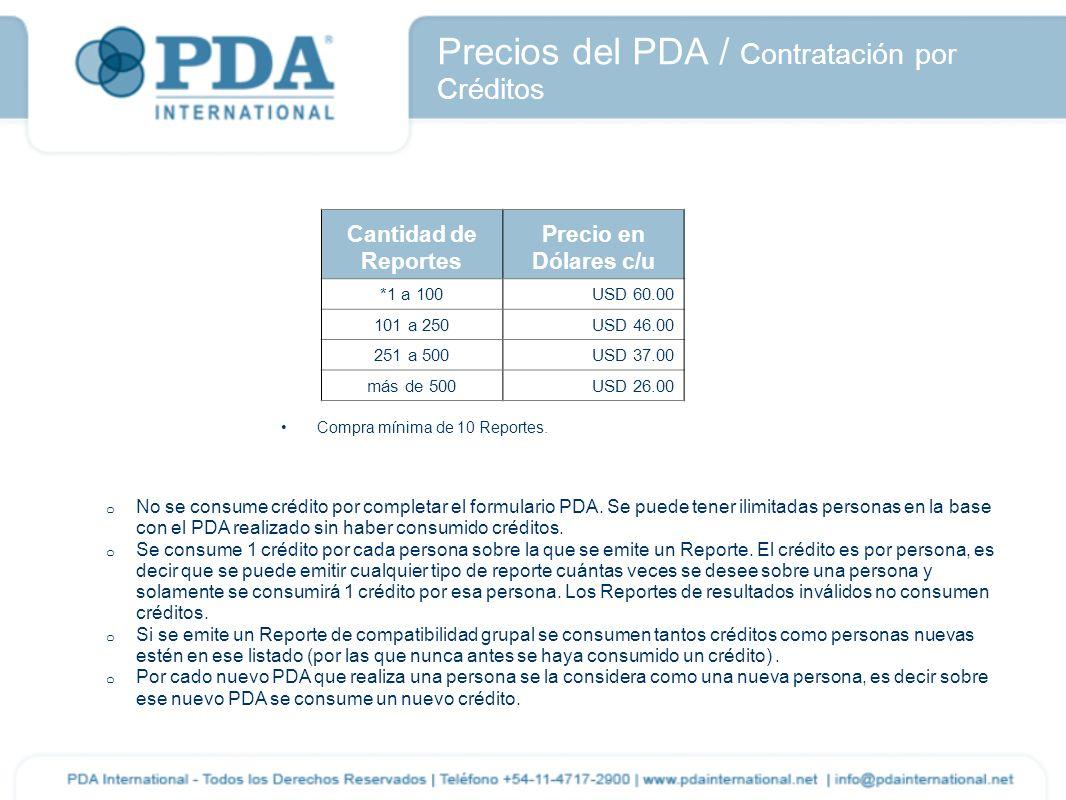 Precios del PDA / Contratación por Créditos o No se consume crédito por completar el formulario PDA. Se puede tener ilimitadas personas en la base con