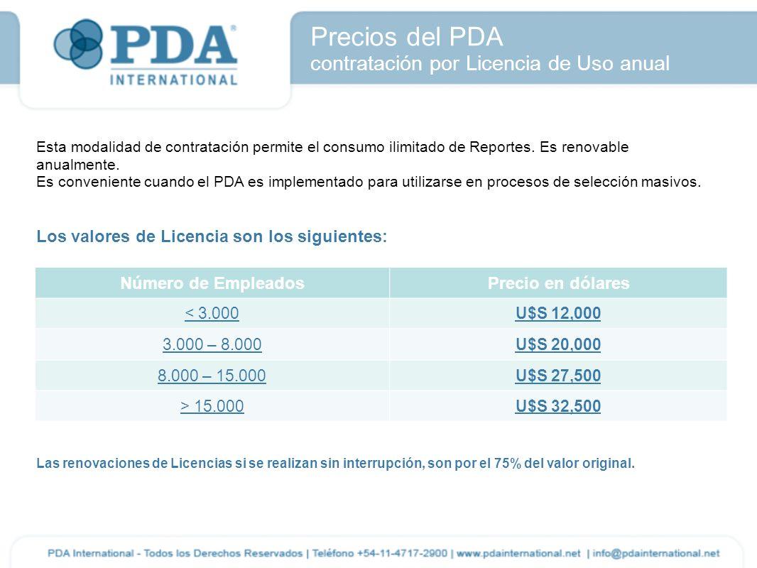 Precios del PDA contratación por Licencia de Uso anual Esta modalidad de contratación permite el consumo ilimitado de Reportes. Es renovable anualment