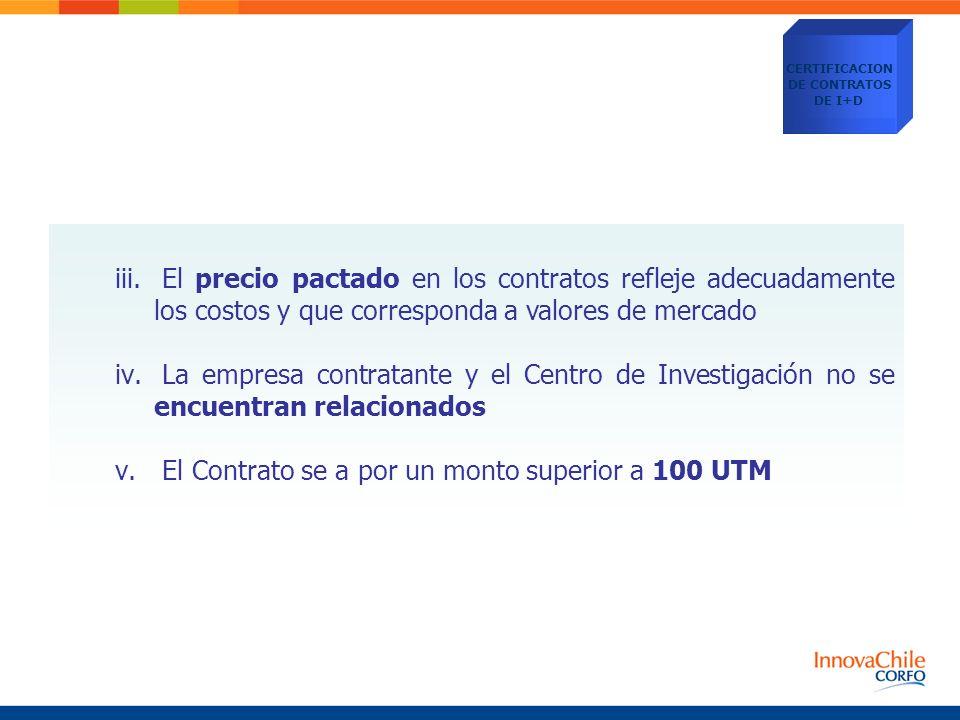 iii. El precio pactado en los contratos refleje adecuadamente los costos y que corresponda a valores de mercado iv. La empresa contratante y el Centro