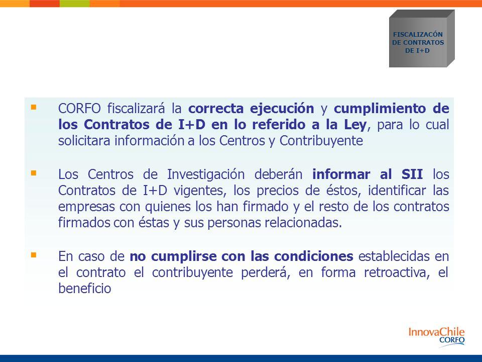 CORFO fiscalizará la correcta ejecución y cumplimiento de los Contratos de I+D en lo referido a la Ley, para lo cual solicitara información a los Cent
