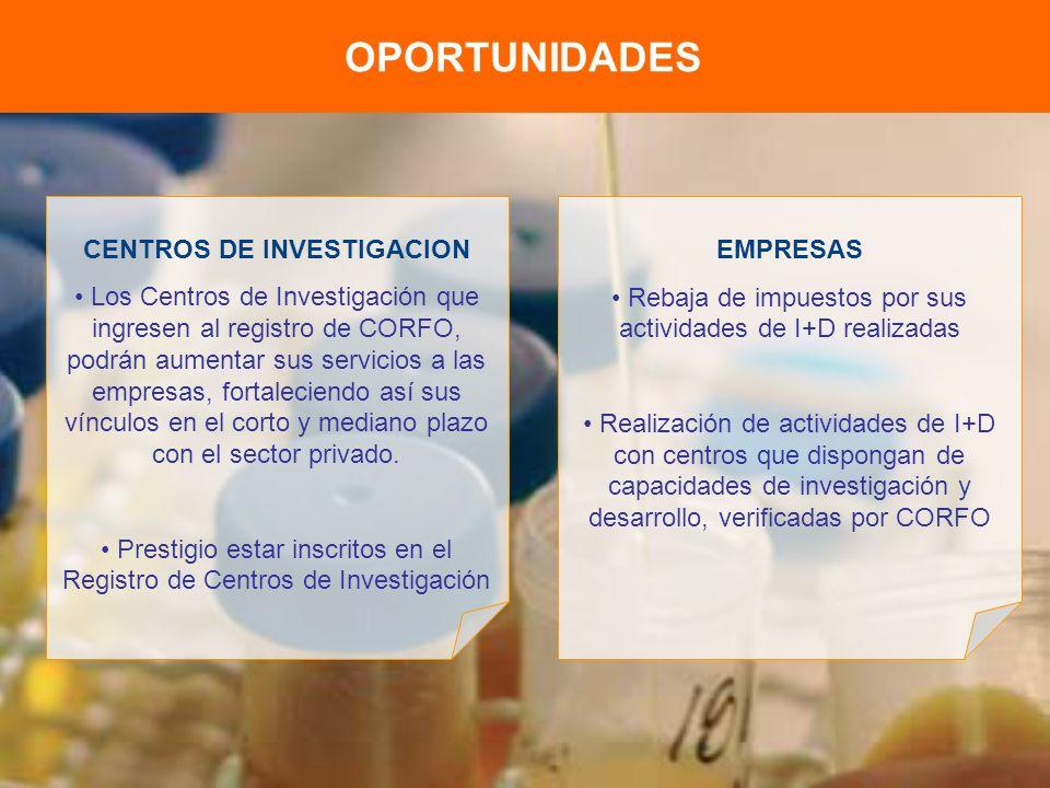 OPORTUNIDADES CENTROS DE INVESTIGACION Los Centros de Investigación que ingresen al registro de CORFO, podrán aumentar sus servicios a las empresas, fortaleciendo así sus vínculos en el corto y mediano plazo con el sector privado.