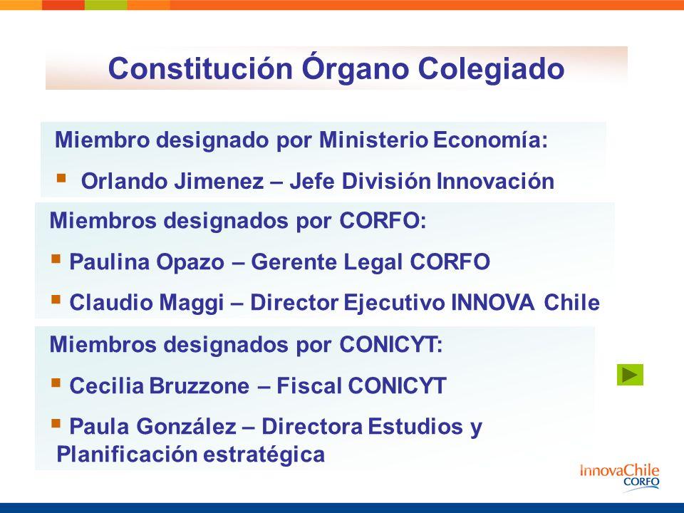 Constitución Órgano Colegiado Miembros designados por CORFO: Paulina Opazo – Gerente Legal CORFO Claudio Maggi – Director Ejecutivo INNOVA Chile Miemb