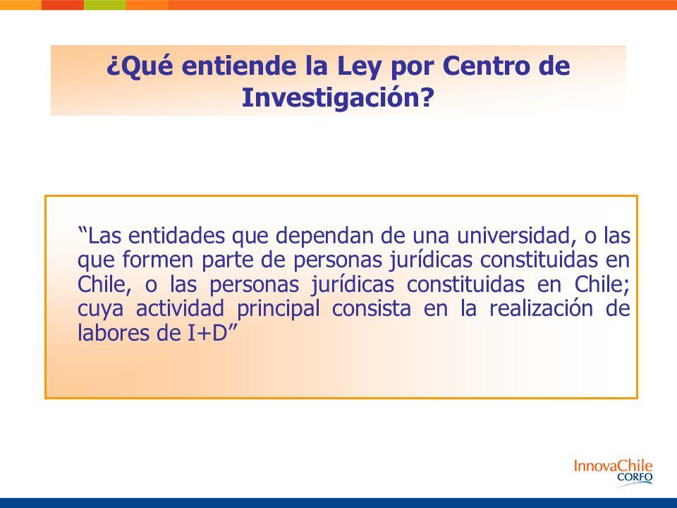 Las entidades que dependan de una universidad, o las que formen parte de personas jurídicas constituidas en Chile, o las personas jurídicas constituidas en Chile; cuya actividad principal consista en la realización de labores de I+D ¿Qué entiende la Ley por Centro de Investigación?