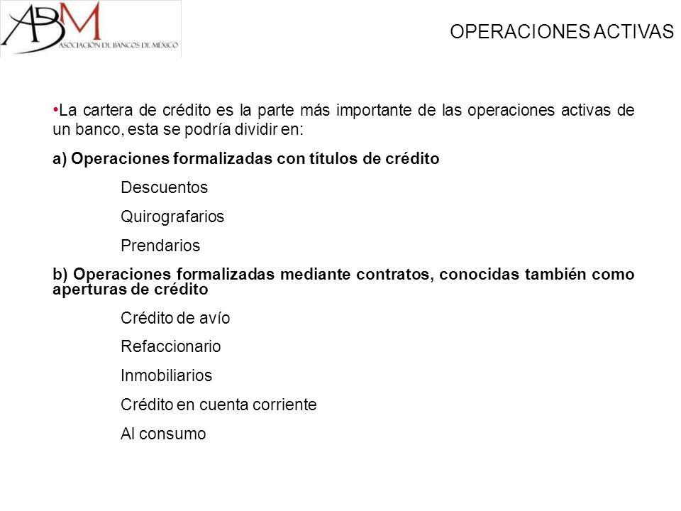 La cartera de crédito es la parte más importante de las operaciones activas de un banco, esta se podría dividir en: a) Operaciones formalizadas con tí