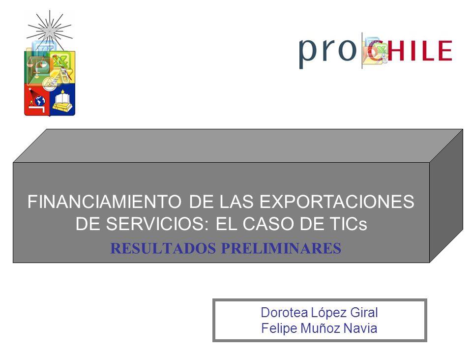 FINANCIAMIENTO DE LAS EXPORTACIONES DE SERVICIOS: EL CASO DE TICs RESULTADOS PRELIMINARES Dorotea López Giral Felipe Muñoz Navia