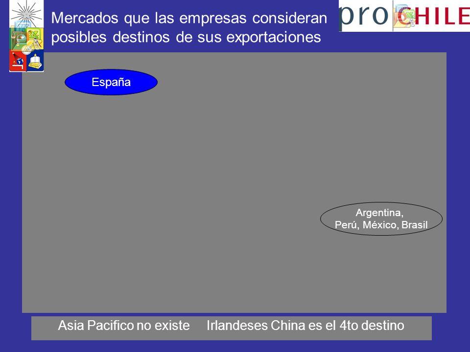 Mercados que las empresas consideran posibles destinos de sus exportaciones Asia Pacifico no existe Irlandeses China es el 4to destino Argentina, Perú, México, Brasil España