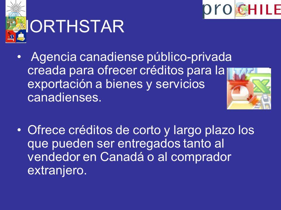 NORTHSTAR Agencia canadiense público-privada creada para ofrecer créditos para la exportación a bienes y servicios canadienses.