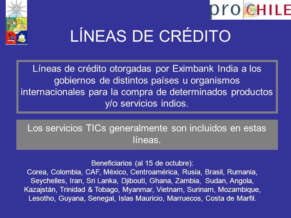 LÍNEAS DE CRÉDITO Líneas de crédito otorgadas por Eximbank India a los gobiernos de distintos países u organismos internacionales para la compra de determinados productos y/o servicios indios.