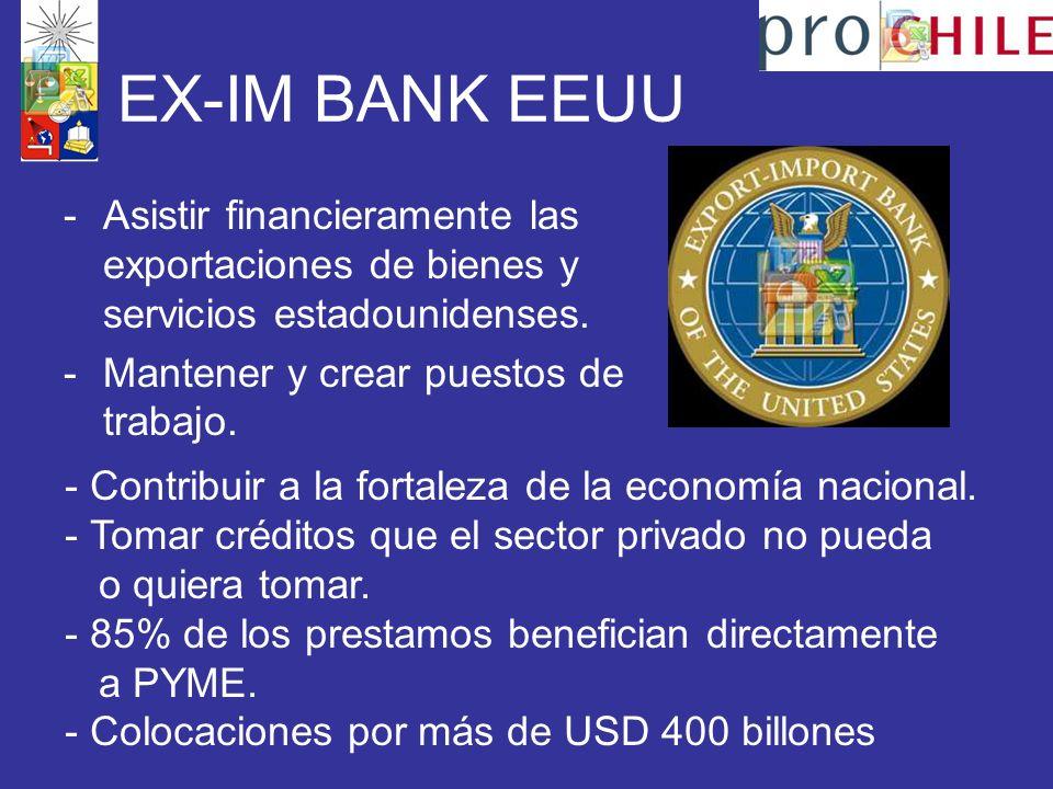 EX-IM BANK EEUU -Asistir financieramente las exportaciones de bienes y servicios estadounidenses.
