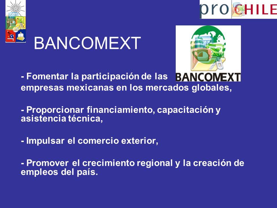 BANCOMEXT - Fomentar la participación de las empresas mexicanas en los mercados globales, - Proporcionar financiamiento, capacitación y asistencia técnica, - Impulsar el comercio exterior, - Promover el crecimiento regional y la creación de empleos del país.