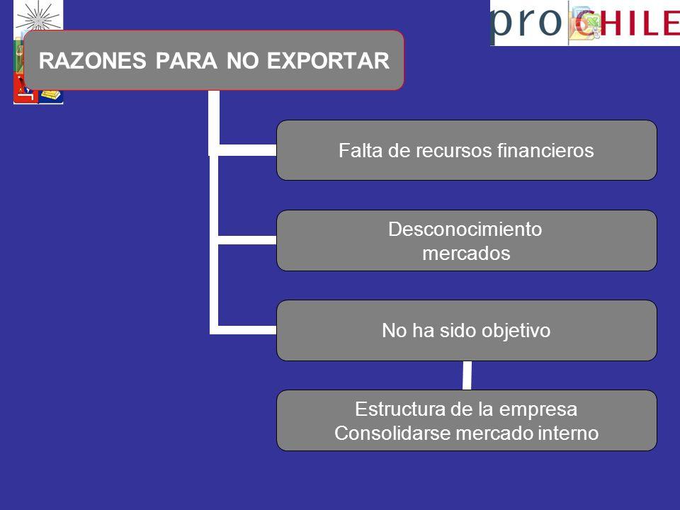 RAZONES PARA NO EXPORTAR Falta de recursos financieros Desconocimiento mercados No ha sido objetivo Estructura de la empresa Consolidarse mercado interno