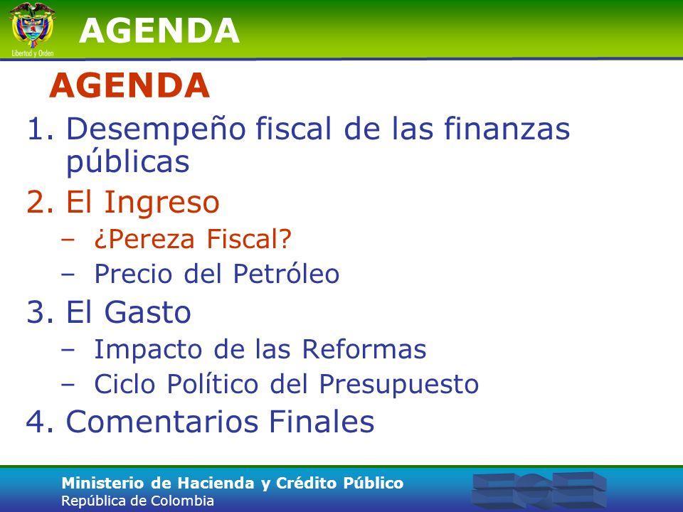 Ministerio de Hacienda y Crédito Público República de Colombia El gasto total pasó de 5% del PIB en 1993 a 8% del PIB en 1999 3.