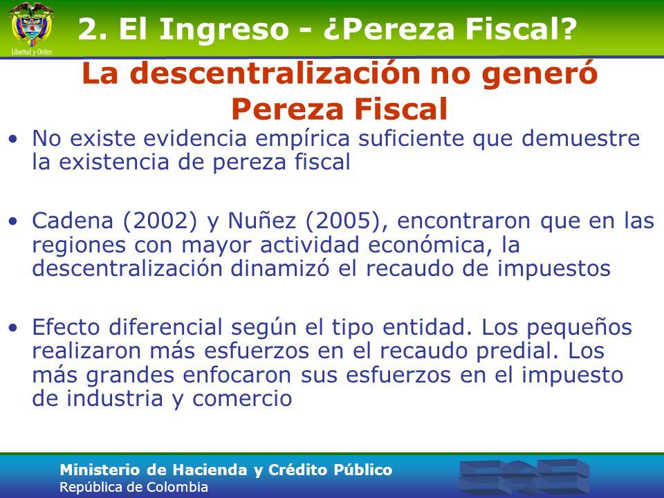 Ministerio de Hacienda y Crédito Público República de Colombia La descentralización no generó Pereza Fiscal No existe evidencia empírica suficiente qu