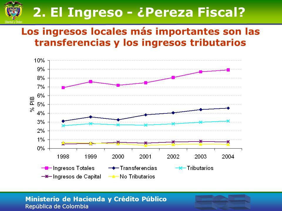 Ministerio de Hacienda y Crédito Público República de Colombia 2. El Ingreso - ¿Pereza Fiscal? Los ingresos locales más importantes son las transferen