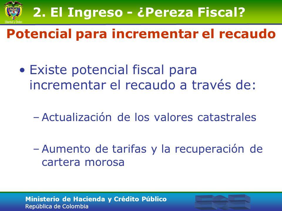 Ministerio de Hacienda y Crédito Público República de Colombia Potencial para incrementar el recaudo Existe potencial fiscal para incrementar el recau