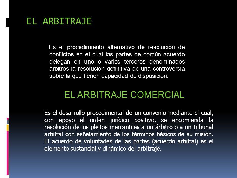 EL ARBITRAJE Es el procedimiento alternativo de resolución de conflictos en el cual las partes de común acuerdo delegan en uno o varios terceros denom