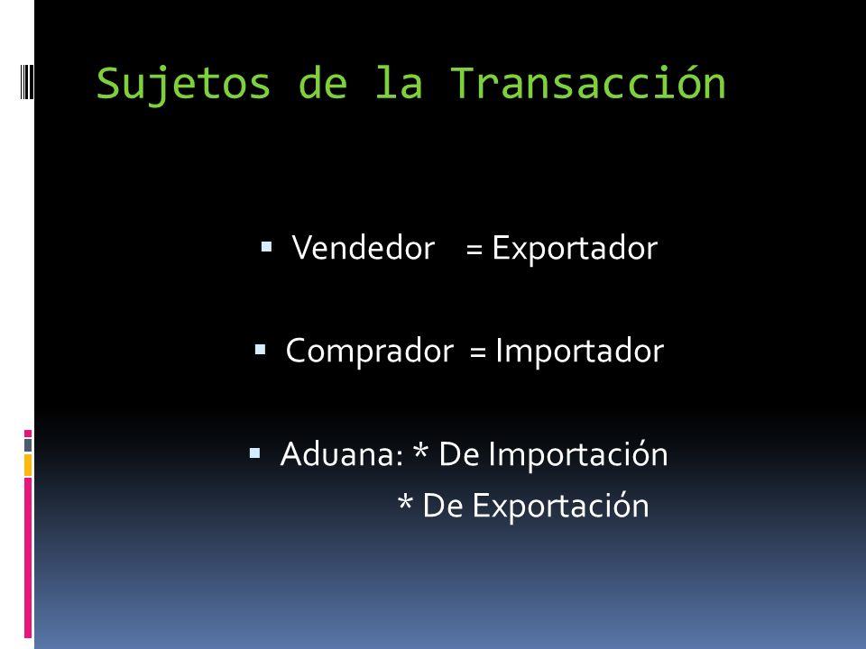 Sujetos de la Transacción Vendedor = Exportador Comprador = Importador Aduana: * De Importación * De Exportación