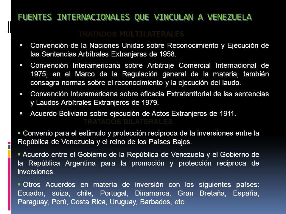 FUENTES INTERNACIONALES QUE VINCULAN A VENEZUELA Convención de la Naciones Unidas sobre Reconocimiento y Ejecución de las Sentencias Arbítrales Extran
