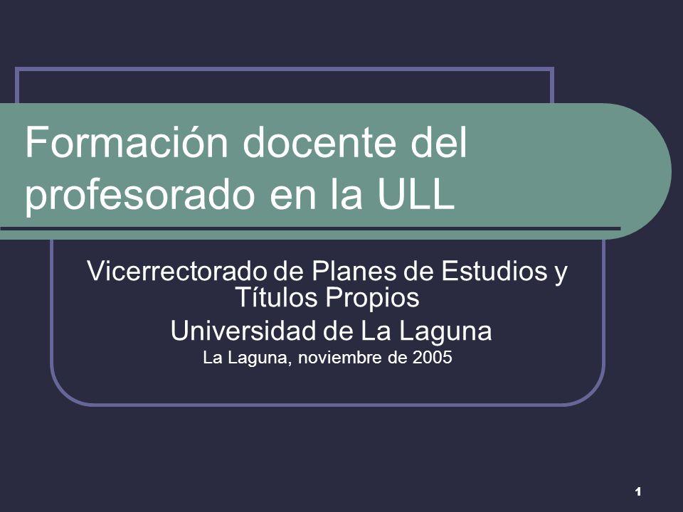 1 Formación docente del profesorado en la ULL Vicerrectorado de Planes de Estudios y Títulos Propios Universidad de La Laguna La Laguna, noviembre de 2005