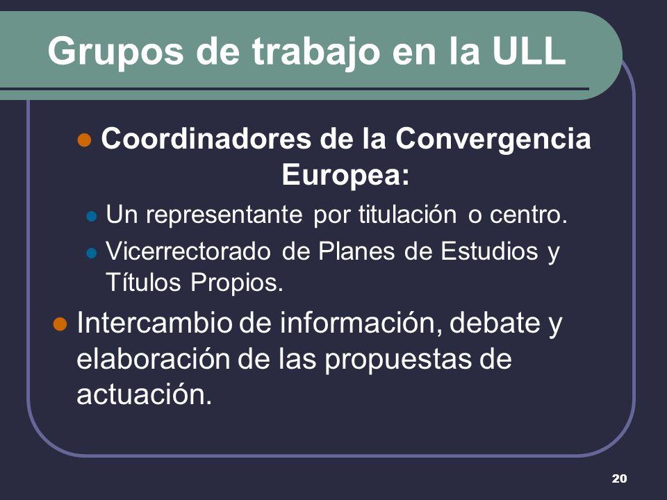 20 Grupos de trabajo en la ULL Coordinadores de la Convergencia Europea: Un representante por titulación o centro.