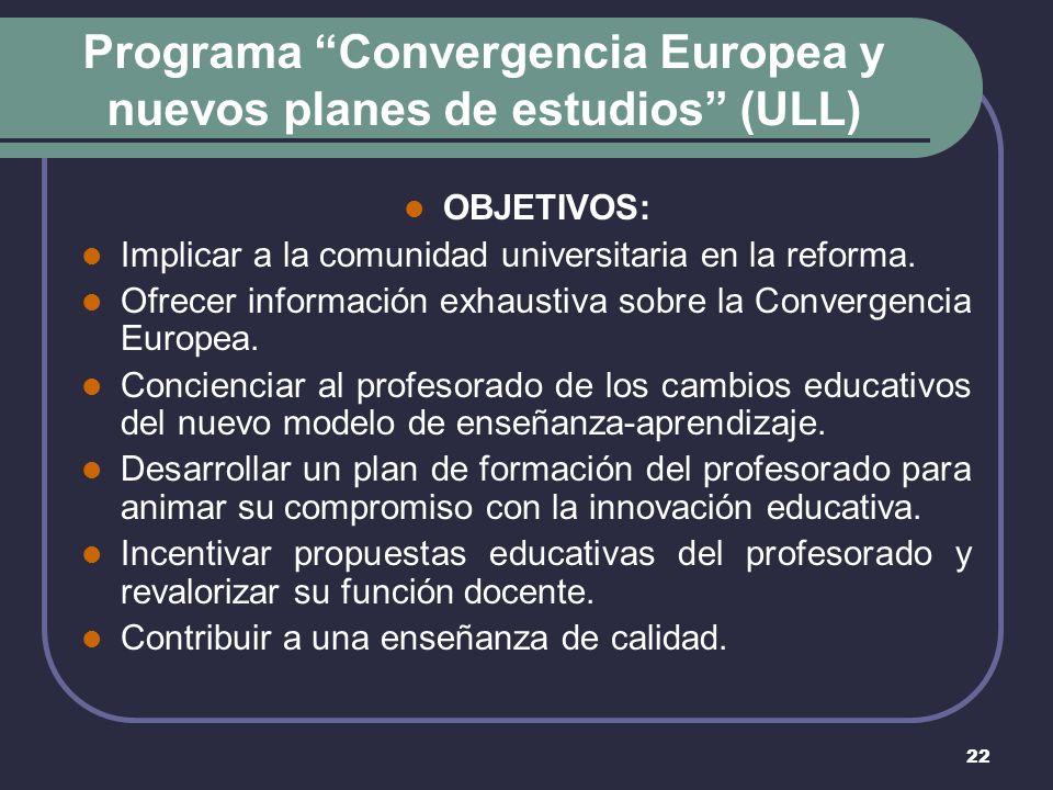 22 Programa Convergencia Europea y nuevos planes de estudios (ULL) OBJETIVOS: Implicar a la comunidad universitaria en la reforma.