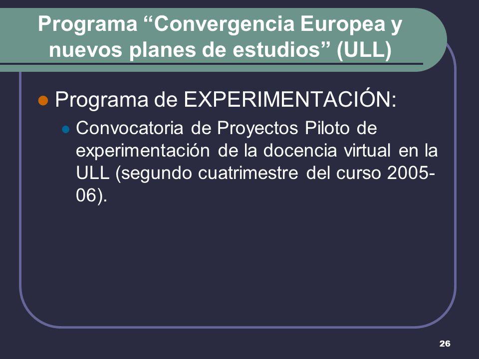 26 Programa Convergencia Europea y nuevos planes de estudios (ULL) Programa de EXPERIMENTACIÓN: Convocatoria de Proyectos Piloto de experimentación de la docencia virtual en la ULL (segundo cuatrimestre del curso 2005- 06).