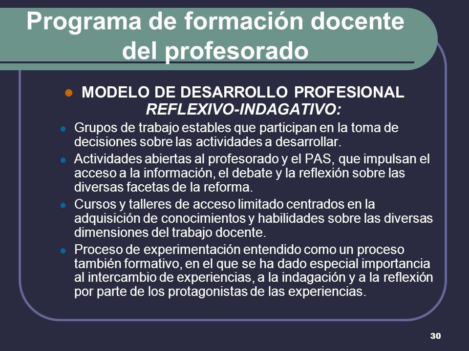 30 Programa de formación docente del profesorado MODELO DE DESARROLLO PROFESIONAL REFLEXIVO-INDAGATIVO: Grupos de trabajo estables que participan en la toma de decisiones sobre las actividades a desarrollar.