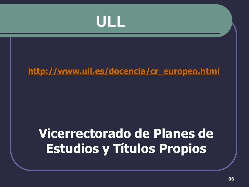 36 ULL http://www.ull.es/docencia/cr_europeo.html Vicerrectorado de Planes de Estudios y Títulos Propios
