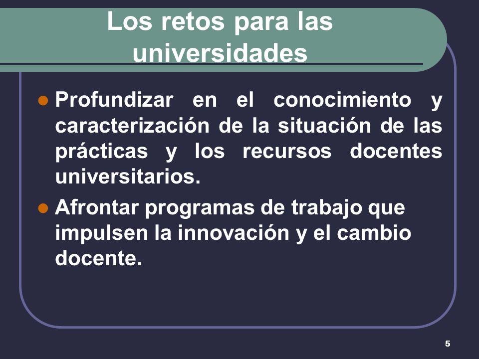 5 Los retos para las universidades Profundizar en el conocimiento y caracterización de la situación de las prácticas y los recursos docentes universitarios.